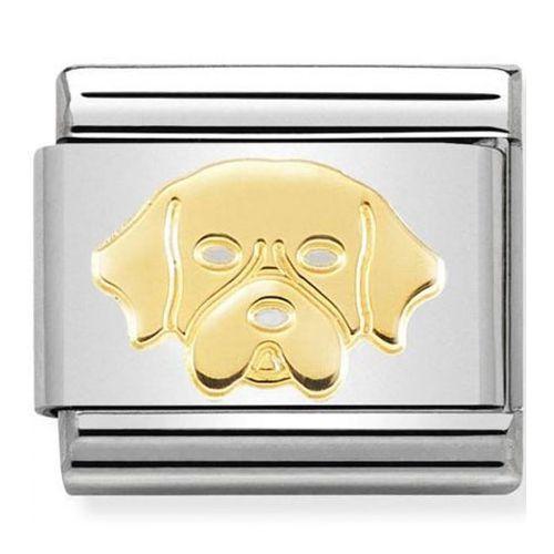 Maillon Nomination classic chien golden retriever en Or
