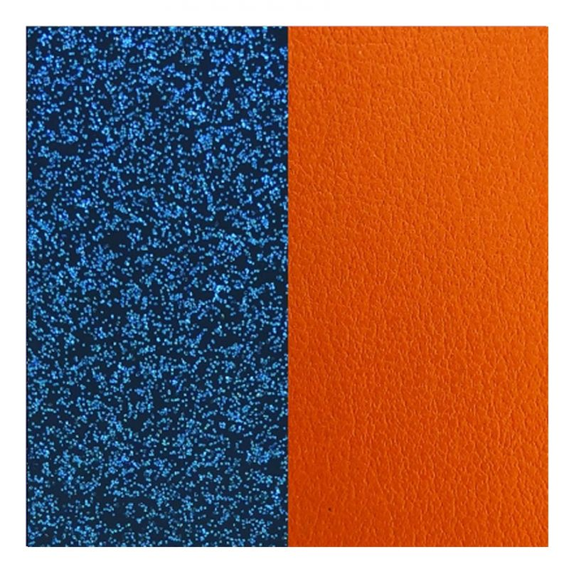 Cuir reversible les Georgettes glitter bleu / abricot
