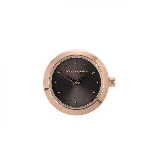Boitier de montre Les Georgettes coutures rond doré rose cadran anthracite