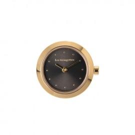 Boitier de montre Les Georgettes coutures rond doré jaune cadran anthracite