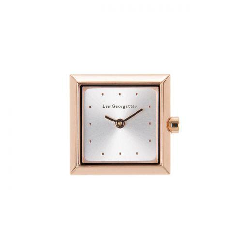Boitier de montre Les Georgettes coutures carré doré rose cadran argent