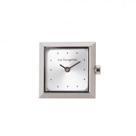 Boitier de montre Les Georgettes coutures carré argenté cadran argent
