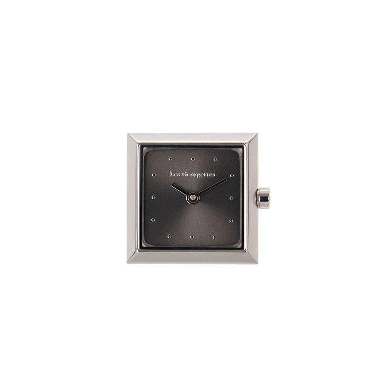 Boitier de montre Les Georgettes coutures carré argenté cadran anthracite