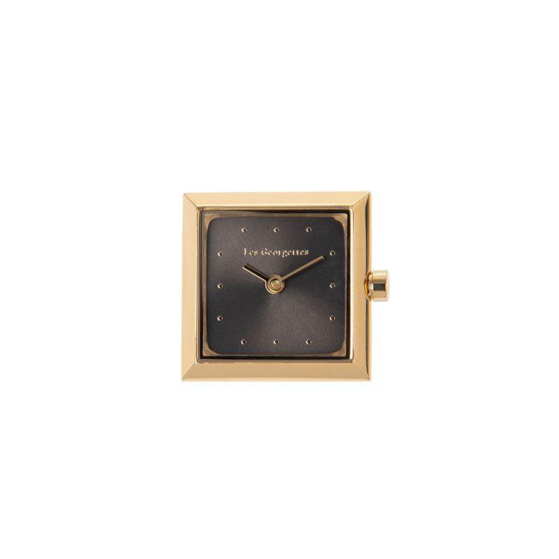 Boitier de montre Les Georgettes coutures carré doré jaune cadran anthracite