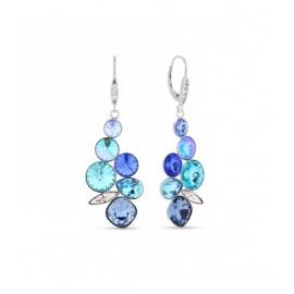 Boucles d'oreilles Spark Argent et cristaux pendantes bleues