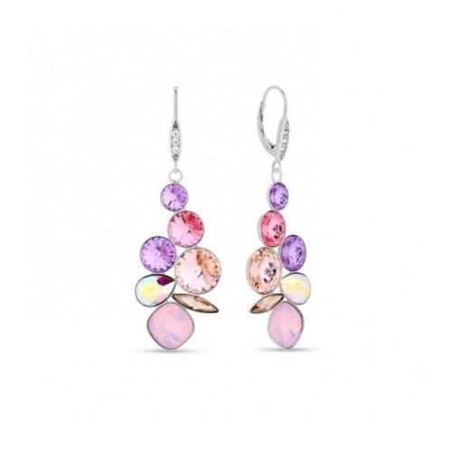 Boucles d'oreilles Spark Argent et cristaux de Swarovski pendantes roses