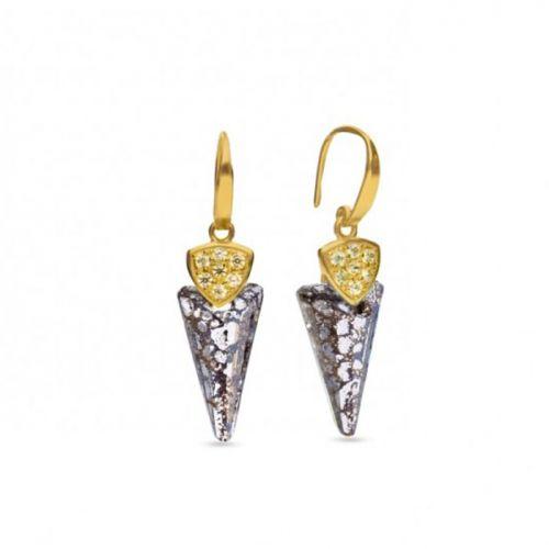 Boucles d'oreilles Spark Plaqué Or sur Argent et cristaux de Swarovski motif glaive