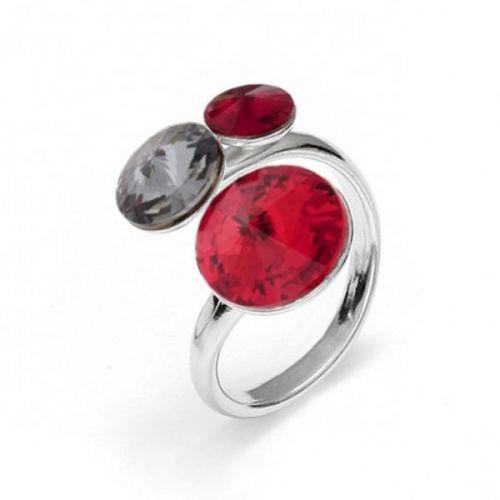 Bague Spark Argent et cristaux de Swarovski rouge et noire