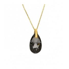 Collier Spark Plaqué Or sur Argent et cristaux de Swarovski goutte noire
