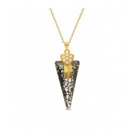 Collier Spark Plaqué Or sur Argent et cristaux de Swarovski motif glaive