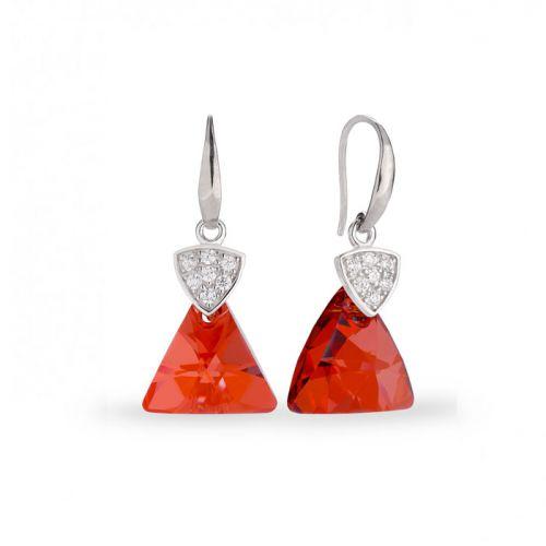 Boucles d'oreilles Spark Argent et cristaux de Swarovski triangle rouge