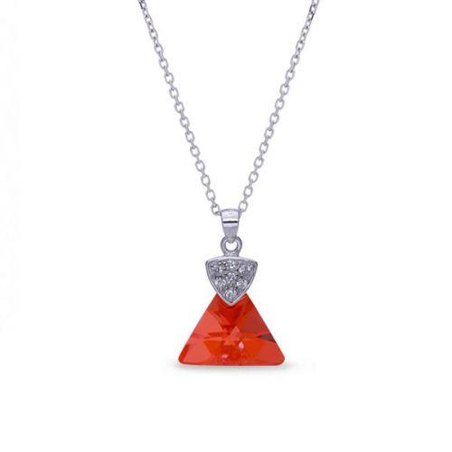 Collier Spark Argent et cristaux de Swarovski triangle rouge