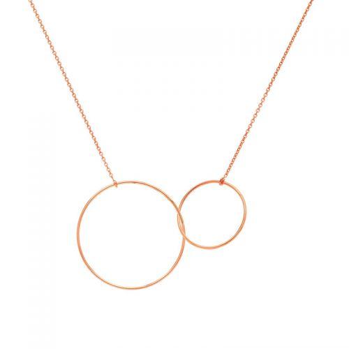 Collier Or rose deux anneaux entrelacés