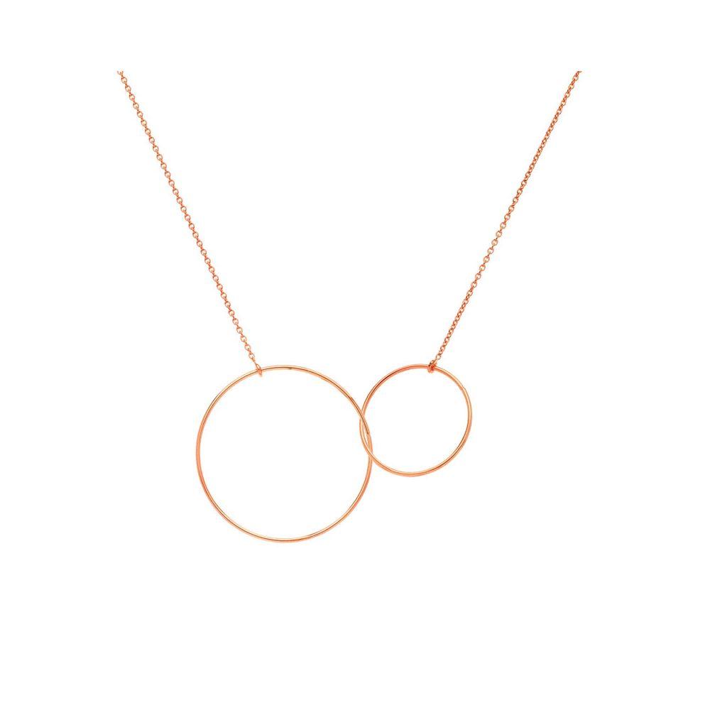 en soldes 40060 44b1c Collier Or rose deux anneaux entrelacés