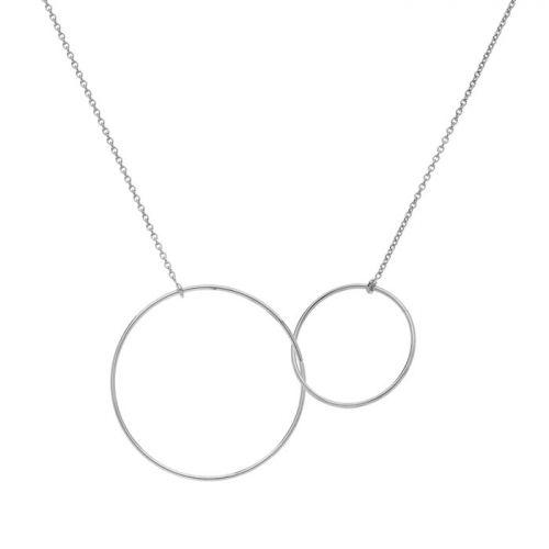 Collier Or blanc deux anneaux entrelacés