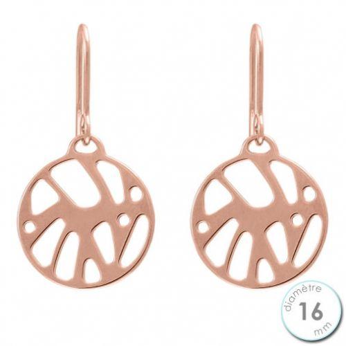 Boucles d'oreilles Les Georgettes motif perroquet finition Or rose diamètre 16 mm