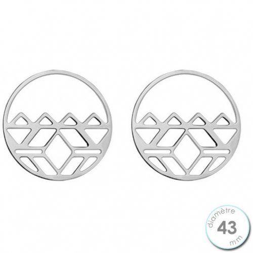 Boucles d'oreilles Les Georgettes motif inca finition argent diamètre 43 mm