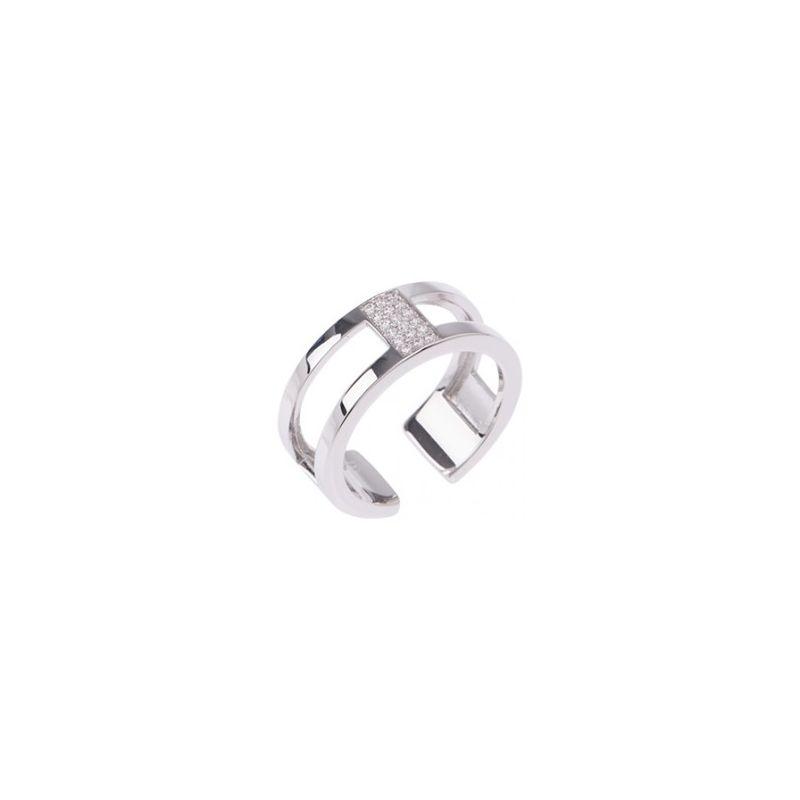 Bague Les Georgettes précieuses motif barrette finition argent 8 mm