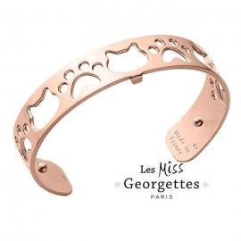 Bracelet manchette miss Les Georgettes motif chat finition Or rose