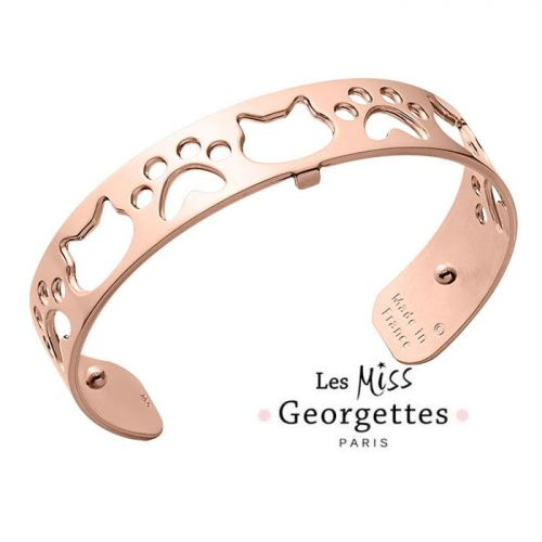 Bracelet manchette miss Les Georgettes motif chat finition Or rose