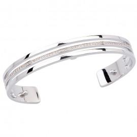 Bracelet manchette Les Georgettes précieuses motif parrallèle 8 mm finition Argent