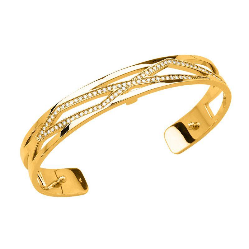 Bracelet manchette Les Georgettes précieuses motif liens 8 mm finition Or jaune