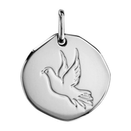 Pendentif Argent galet colombe