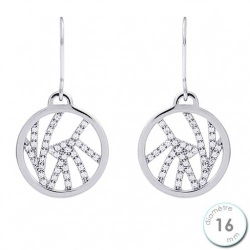 Boucles d'oreilles Les Georgettes précieuses motif perroquet finition argent diamètre 16 mm