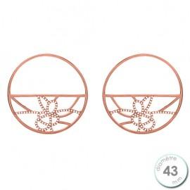 Boucles d'oreilles Les Georgettes précieuses motif girafe finition Or rose diamètre 43 mm