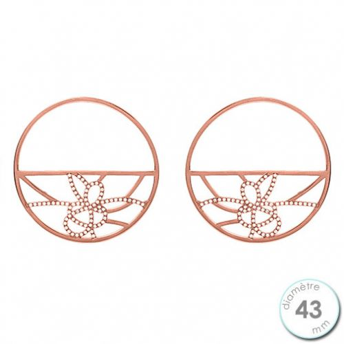 Boucles d'oreilles Les Georgettes précieuses motif pétales finition Or rose diamètre 43 mm