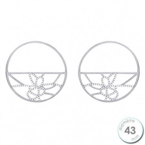 Boucles d'oreilles Les Georgettes motif pétales finition argent diamètre 43 mm