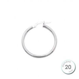 Boucle d'oreille créoles Or blanc 750 diamètre 20 mm à l'unité