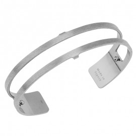 Bracelet manchette Les Georgettes for men motif double 14 mm finition Argent satiné