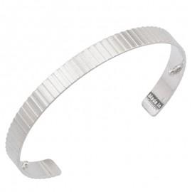 Bracelet manchette Les Georgettes for men motif verticale 14 mm finition Argent satiné