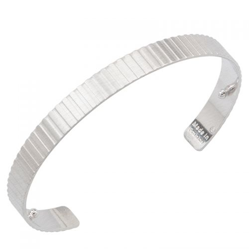 Bracelet manchette Les Georgettes for men motif verticale 14 mm finition Argent satiné