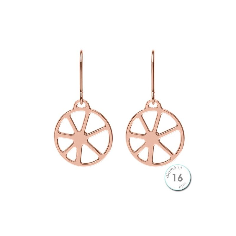 Boucles d'oreilles Les Georgettes motif solaire finition Or rose diamètre 16 mm