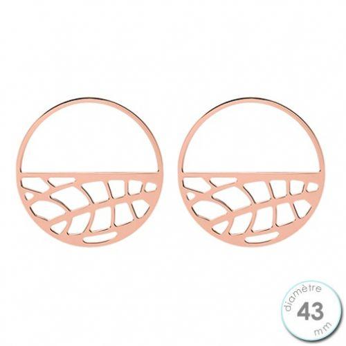 Boucles d'oreilles Les Georgettes motif fougère finition Or rose diamètre 43 mm