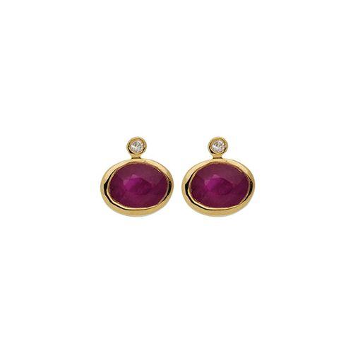 Boucles d'oreilles Or, rubis et Diamants