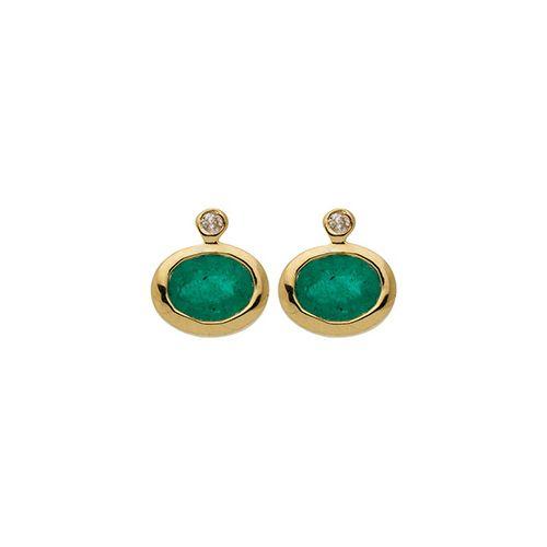 Boucles d'oreilles Or, emeraudes et Diamants