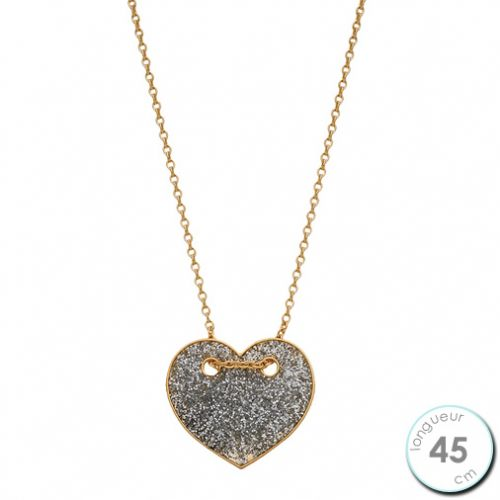 Collier Or jaune 375 motif coeur pailleté