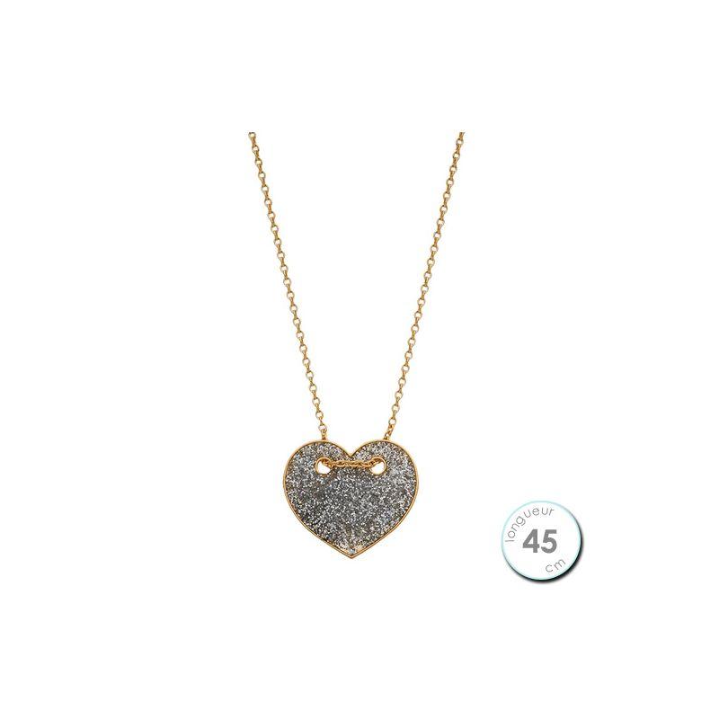 Collier Or jaune 375 motif coeur pailleté