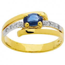 Bague Or jaune, Saphir et Diamants