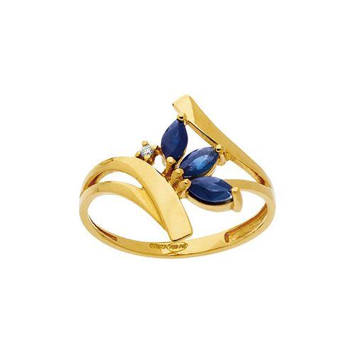 Bague Or jaune, Saphir et Diamants