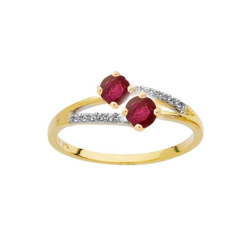 Bague Or jaune, rubis et Diamant