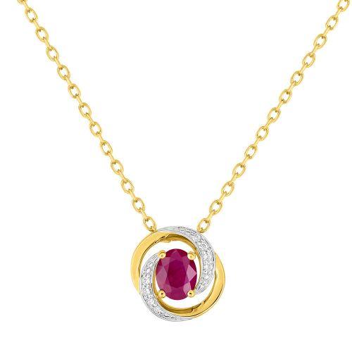 Collier Or jaune, rubis et oxydes