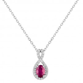 Collier Or blanc, rubis et oxydes