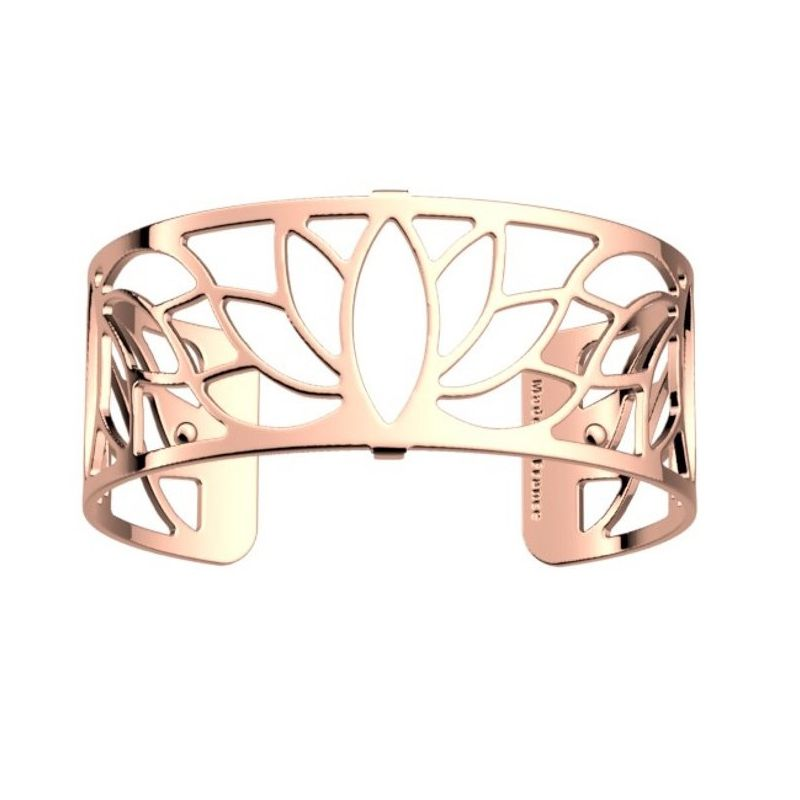 Bracelet manchette Les Georgettes motif lotus finition Or rose medium