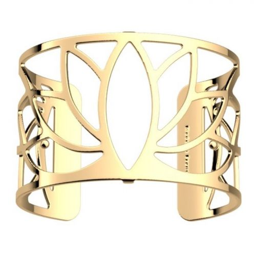 Bracelet manchette Les Georgettes motif lotus finition Or jaune large