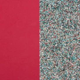 Cuir reversible les Georgettes framboise soft / paillettes multicolores