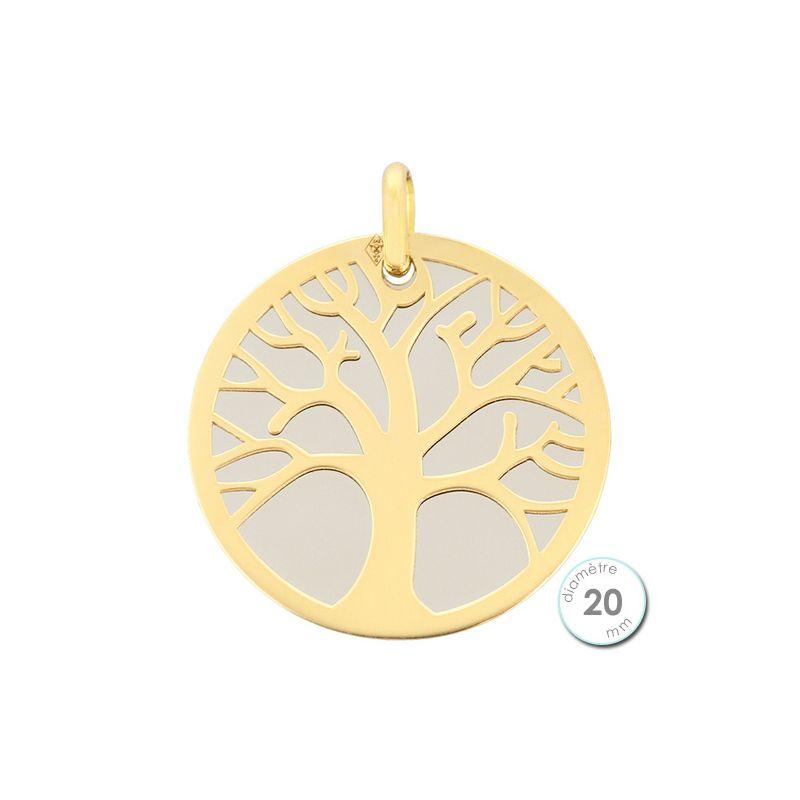 Pendentif Or jaune et acier arbre de vie